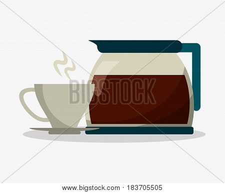 set porcelain cup of coffee in crockery with glass jar with handle vector illustration