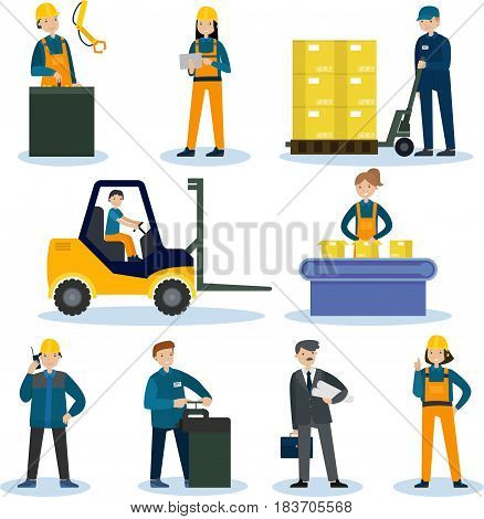 People in factory and warehouse set with workers of plant and storage in different situations isolated vector illustration