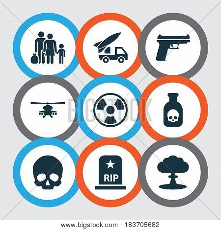 Combat Icons Set. Collection Of Weapons, Chopper, Fugitive And Other Elements. Also Includes Symbols Such As Helicopter, Military, Rockets.