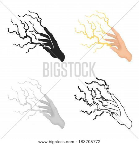 Lightning spell icon in cartoon style isolated on white background. Black and white magic symbol vector illustration.