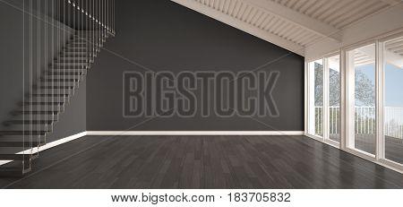 Minimalist mezzanine loft empty industrial space metal roofing and parquet floor scandinavian classic white and gray interior design with garden panorama, 3d illustration