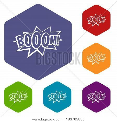 Boom, explosion bubble icons set hexagon isolated vector illustration