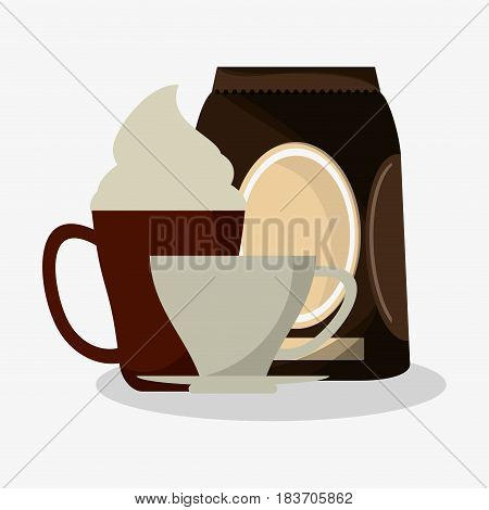 cup of capuccino with cream and bag of coffee with porcelain cup vector illustration