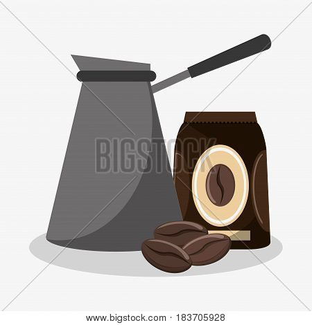 metallic coffee maker with bag of coffee and beans vector illustration