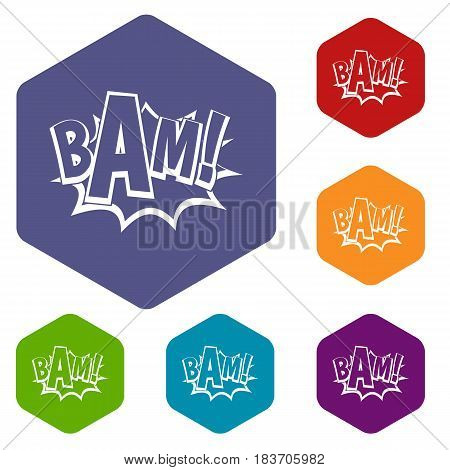 BAM, comic book bubble icons set hexagon isolated vector illustration