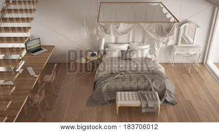 Canopy bed in minimalistic white bedroom with big window scandinavian classic interior design top view, 3d illustration