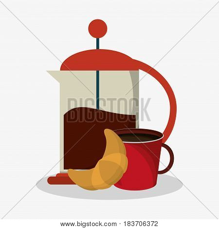 set coffee grinding jar with crank and mug of coffee with croissant vector illustration