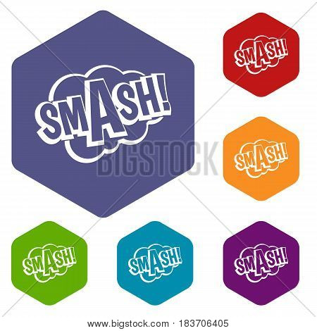 SMASH, comic book bubble text icons set hexagon isolated vector illustration