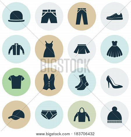 Clothes Icons Set. Collection Of Trilby, Sarafan, Sneakers And Other Elements. Also Includes Symbols Such As Gumshoes, Waistcoat, Trunks.