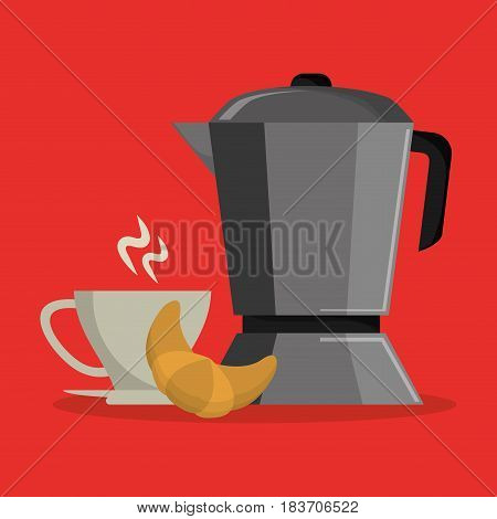 background set metallic jar with porcelain cup of coffee and croissant vector illustration