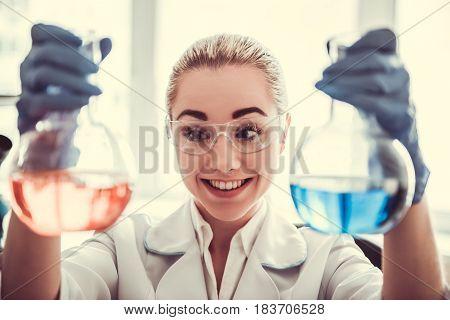 Beautiful Female Doctor In Laboratory