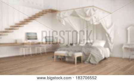Blur background interior design canopy bed in minimalistic white and gray bedroom with home workplace, 3d illustration
