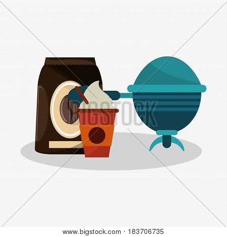set packaking of coffee with glass disponsable of cappucino and recipient vector illustration