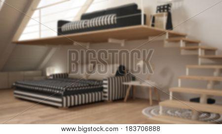 Blur background interior design loft mezzanine one room minimalist living and bedroom white and gray, 3d illustration