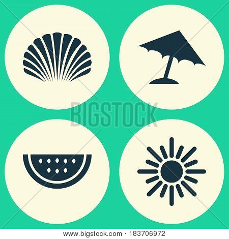 Season Icons Set. Collection Of Parasol, Sunny, Melon And Other Elements. Also Includes Symbols Such As Melon, Watermelon, Conch.