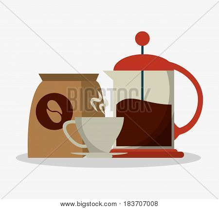 set coffee grinding jar with crank and mug with packaking of coffee vector illustration poster