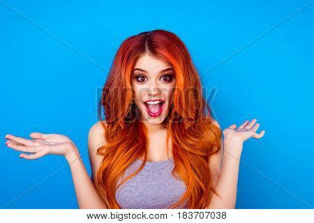 Close-up Portrait Of Attractive Cute Girl With Long Ginger With Dye Ombre Fair Hair And Surprised Fa