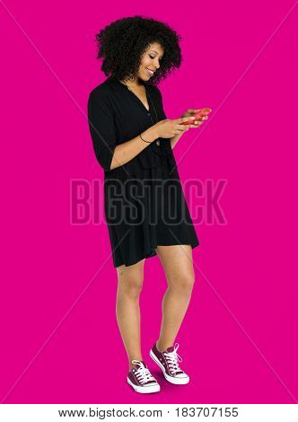 African descent woman using phone