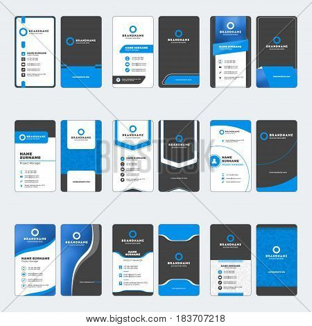Set Of Modern Business Card Print Templates. Vertical Business Cards. Blue And Black Colors. Persona