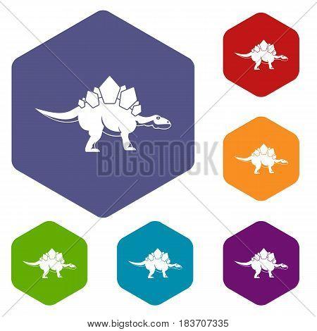 Stegosaurus dinosaur icons set hexagon isolated vector illustration
