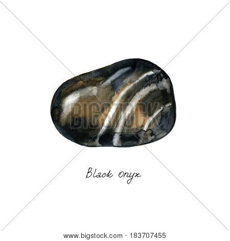 Watercolor semiprecious stone black onyx. Bright watercolor multicolored crystal stones and rocks of different size and shape with various textures on white background.