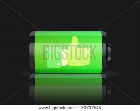 Full battery indicator. isolated on background. Vector illustration. Eps 10.
