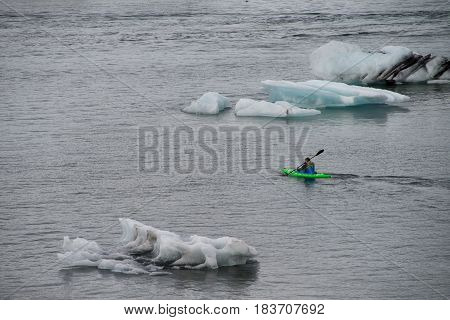 Ice floating on Jokulsarlon lagoon in Iceland, Europe