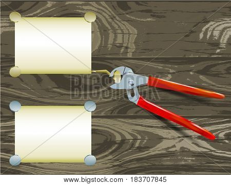 Pliers with paper notepads and nails on a grunge wooden background. Steel pliers with paper banners on a brown cracked wooden background