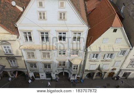 GRAZ, AUSTRIA - MARCH 20, 2017: View of buildings at the Herrengasse street from the top of the Kastner and Ohler warehouses in Graz the capital of federal state of Styria Austria.