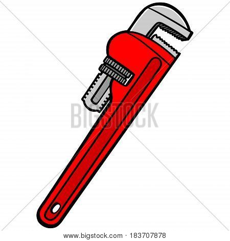 A vector illustration of a pipe wrench.