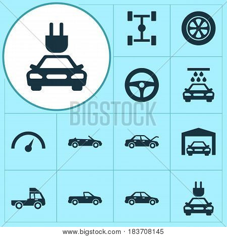 Car Icons Set. Collection Of Van, Wheel, Repairing And Other Elements. Also Includes Symbols Such As Fixing, Wheelbase, Steering.