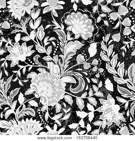 incredibly beautiful, juicy, bright, vector pattern with black and white fantasy flowers. Ideal for textiles, fabrics, prints and accessories.