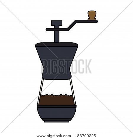 color graphic coffee grinding jar with crank vector illustration