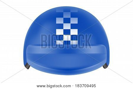Blue motocross racer helmet. Helmet for delivery man. Realistic vector