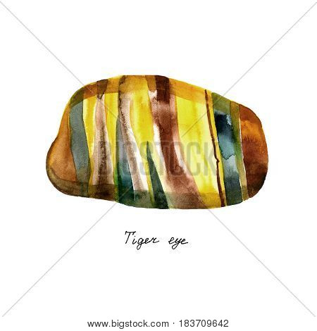 Natural mineral gem stone - Tiger's eye Tiger eye gemstone isolated on white background close-up. Gemstone tiger eye with a golden color contrasted with brown and black