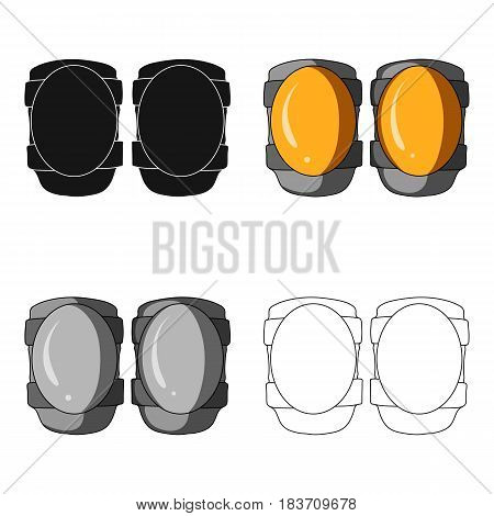 Protective knee pads for cyclists. Protection for athletes.Cyclist outfit single icon in cartoon style vector symbol stock web illustration.
