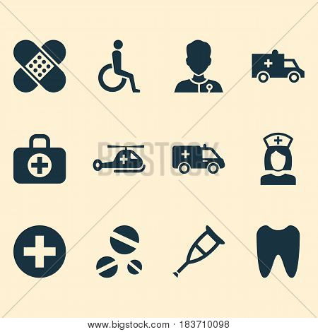 Antibiotic Icons Set. Collection Of Bus, Copter, Nanny And Other Elements. Also Includes Symbols Such As Healer, Handicapped, Instrument.