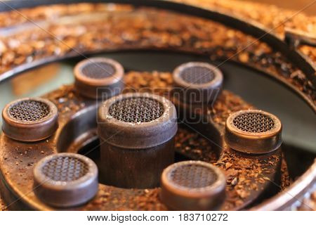 Close up of old gas stove selective focus