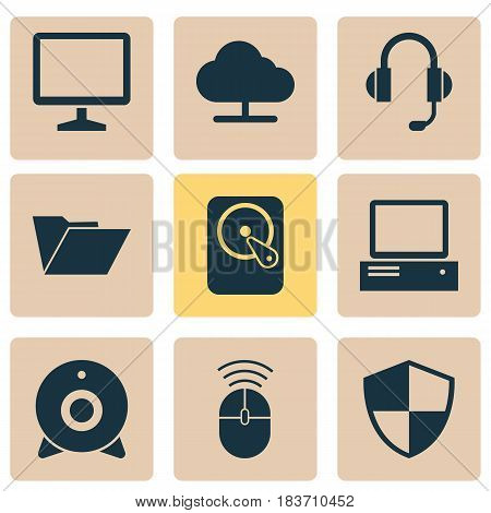 Notebook Icons Set. Collection Of Earphone, Broadcast, Computer Mouse And Other Elements. Also Includes Symbols Such As Tree, Control, Defense.
