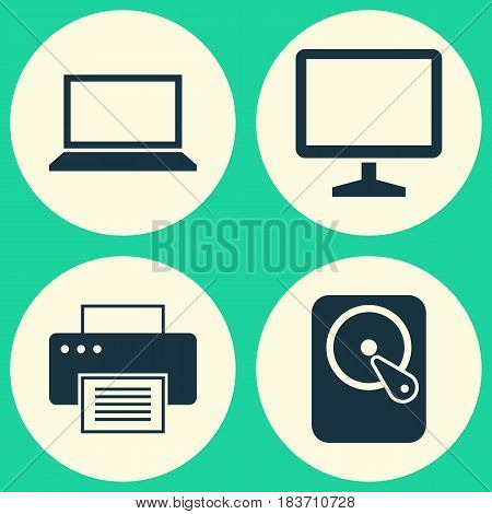 Notebook Icons Set. Collection Of Desktop, Printing Machine, Laptop And Other Elements. Also Includes Symbols Such As Laptop, Computer, Monitor.
