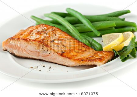 Closeup of Grilled Salmon Fillet with Green Beans Plate