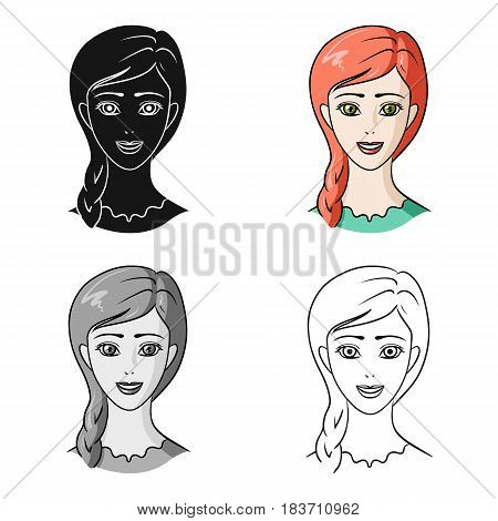 Avatar of a girl with red hair.Avatar and face single icon in cartoon style vector symbol stock web illustration.