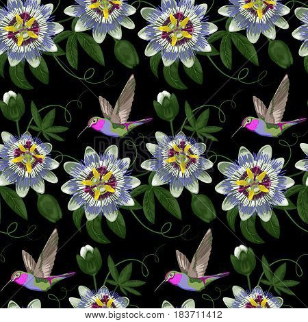 Hummingbird and passiflora seamless pattern. Background for postcards, greeting cards, wedding invitations. Exotic tropical wallpaper.