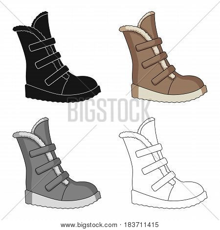 Tall winter boots made of wool with Velcro. Shoes for explorers.Different shoes single icon in cartoon style vector symbol stock web illustration.
