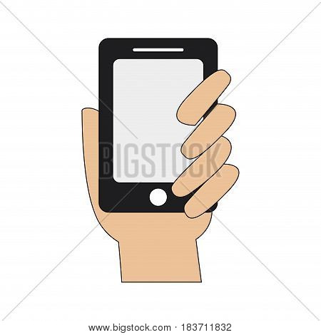 color graphic hand holding up a smartphone vector illustration