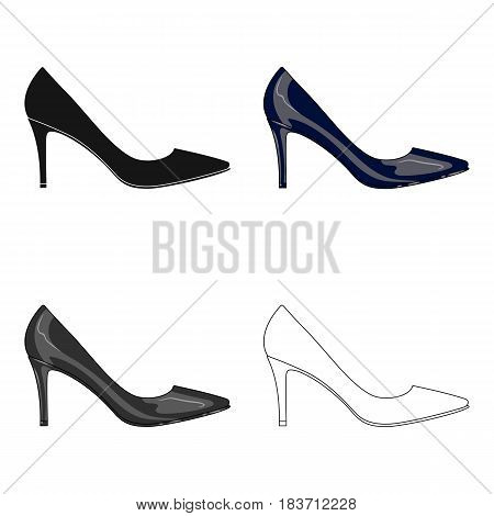 Black womens highheeled shoes exit in a dress.Different shoes single icon in cartoon style vector symbol stock web illustration.