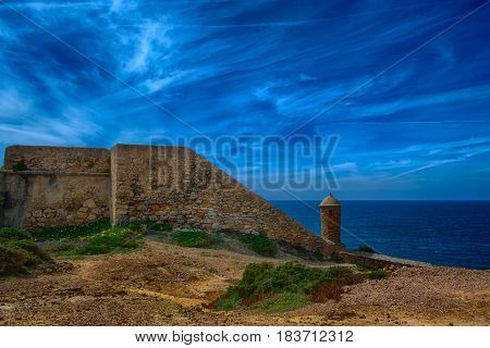 Ericeira Portugal. 13 April 2017.Forte Milreu ancient defensive building in Ribeira de Ilhas Portugal. Ribeira de Ilhas beach is Part of the World Surfing Reserve and its right outside Ericeira Village. Ericeira Portugal. photography by Ricardo Rocha.