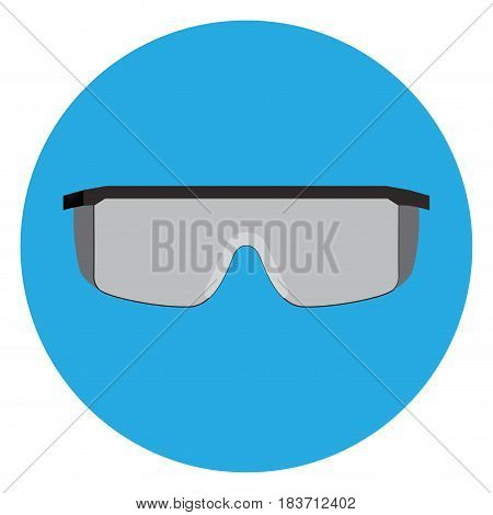 Isolated protectiveglasses on a blue button, Vector illustration