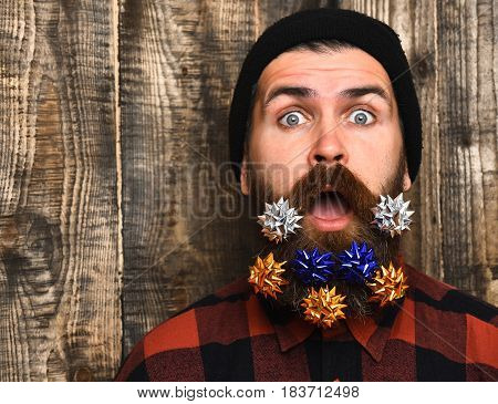 Bearded Man, Brutal Caucasian Surprised Hipster With Gift Decoration Stars