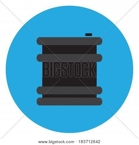 Isolated chemical barrel on a blue button, Vector illustration